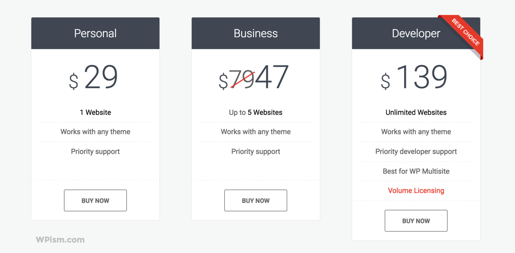 Pricing Plans of Page Builder by MotoPress
