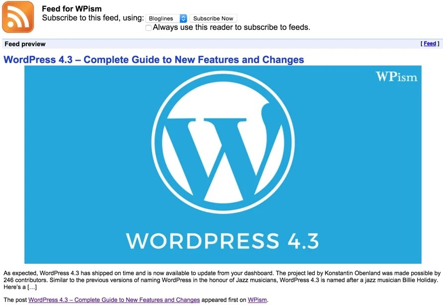 RSS Feed of WordPress Blog WPism with Image