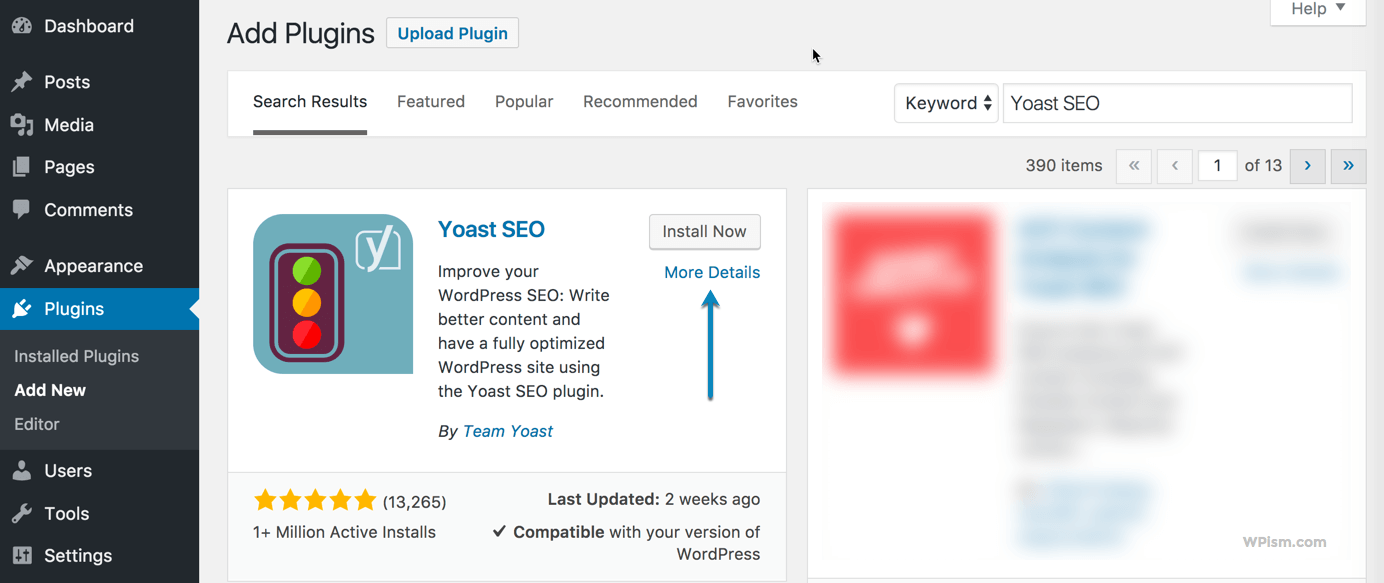 Search Yoast SEO Plugin from WordPress New Blog