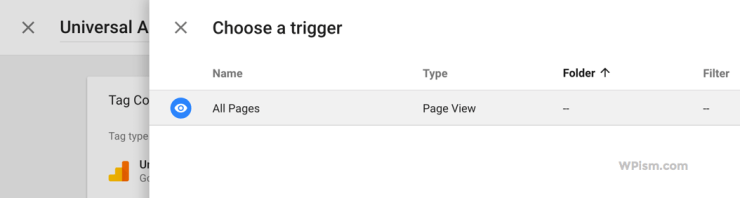 Select All Pages Trigger Option Tag Manager