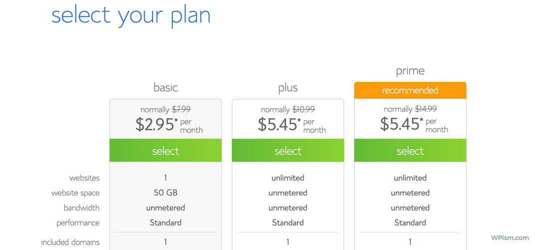 Select Bluehost Discounted Pricing Plan
