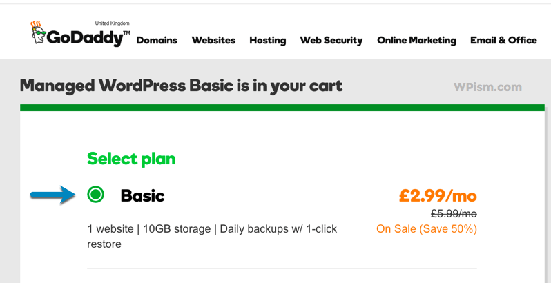 Select WordPress Basic Plan Godaddy Coupon Page