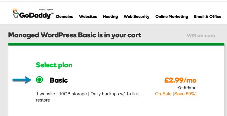 Select WordPress Basic Plan Godaddy Coupon Page