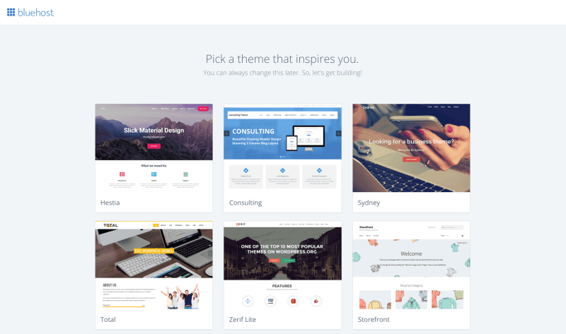Select theme for your new WordPress blog