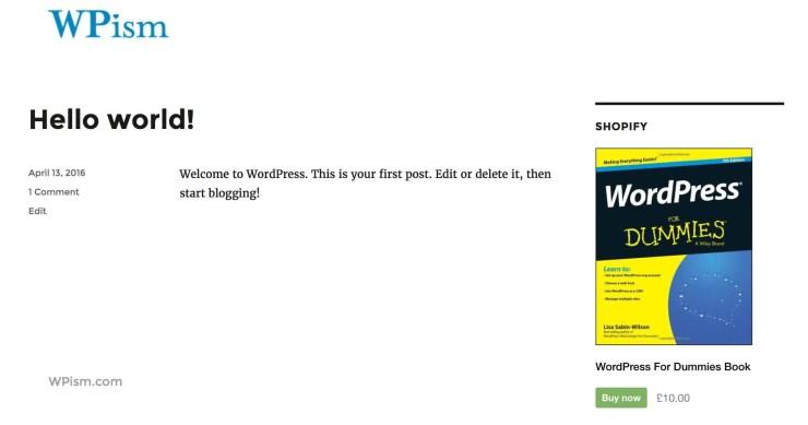 Shopify Widget WordPress 2016 Theme