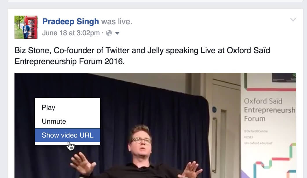Show Video URL for Embed Facebook Videos