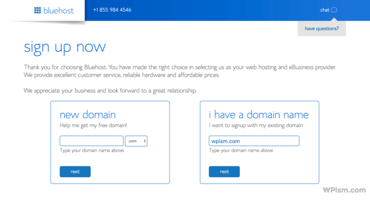 Sign up with domain Bluehost WordPress Hosting