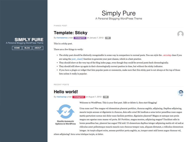 Simply Pure By Ritesh Sanap WordPress theme