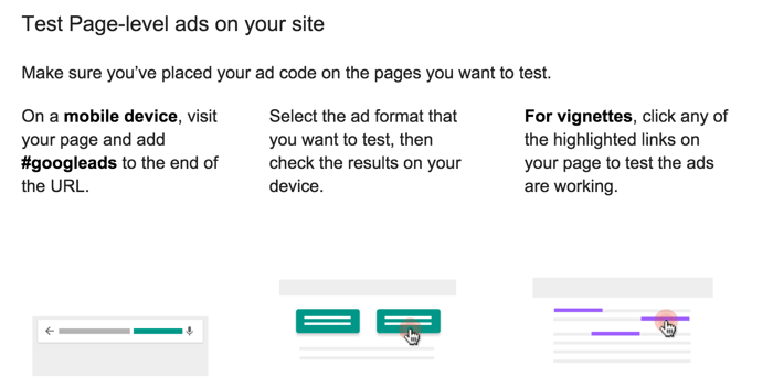 Test Page level ads Google AdSense