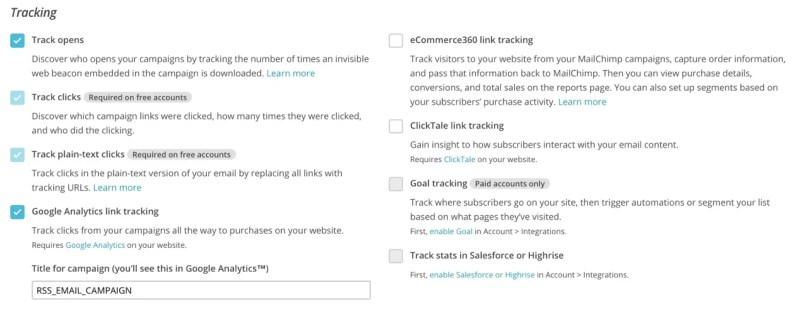 Tracking Options for Campaign MailChimp RSS