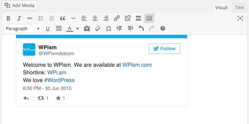 Twitter oEmbed in WordPress
