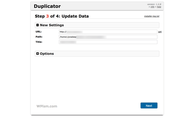 Update Data Duplicator Plugin Move WordPress Website