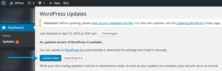 Updating to WordPress 4.5