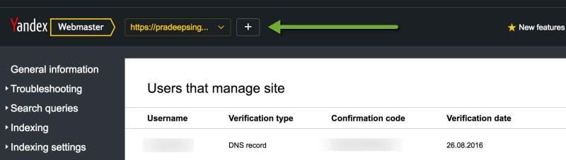 Verified Website in Yandex Webmasters tool