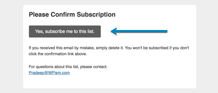 WPism confirm email subscription