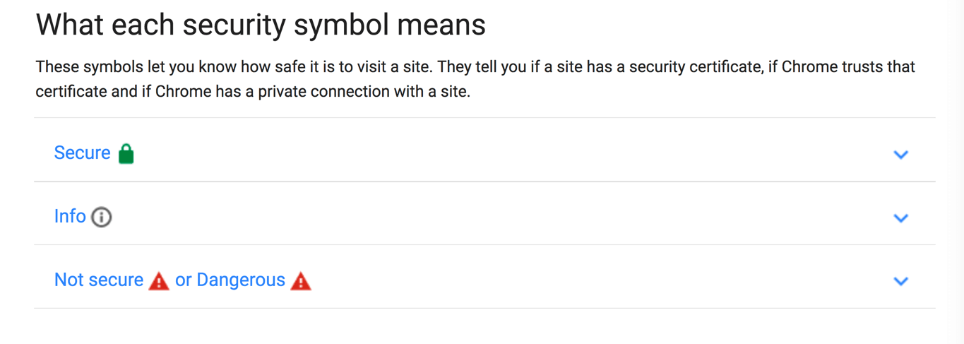 What Each Chrome Security Symbol Means