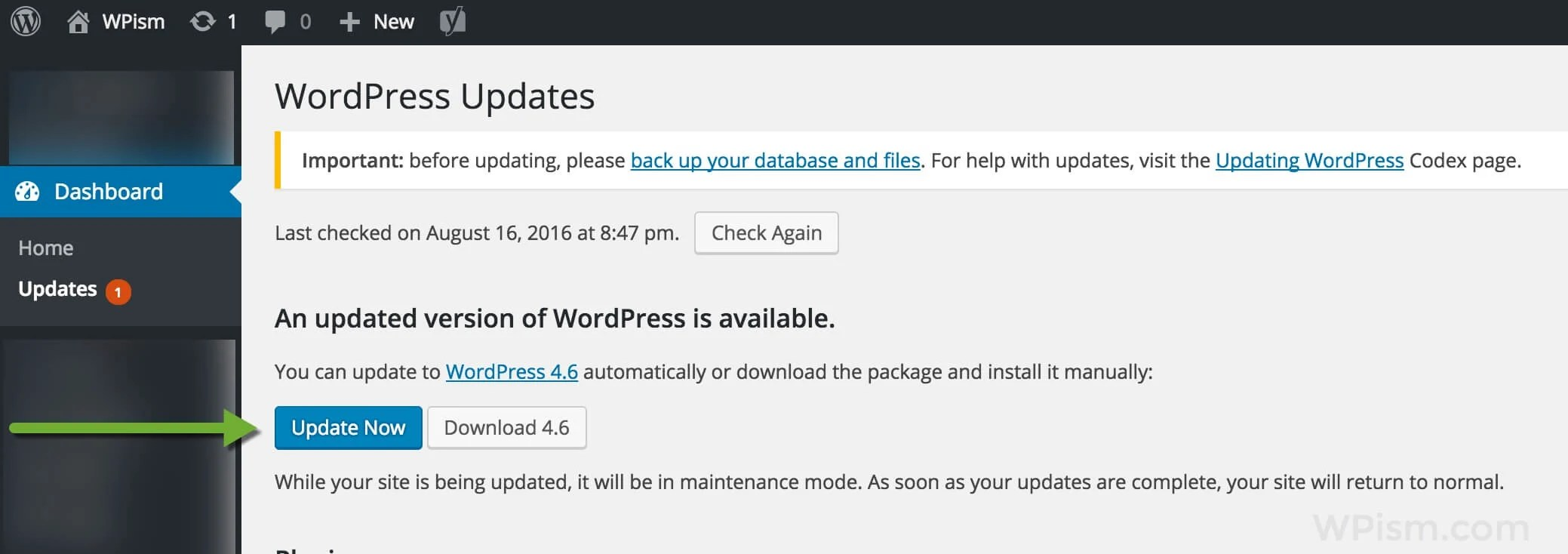 WordPress 4.6 Update Screen