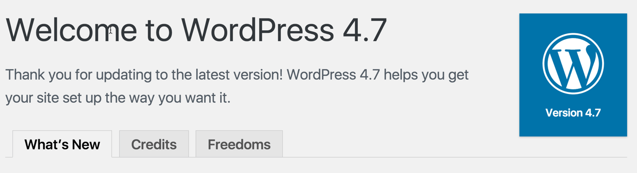 WordPress 4.7 about page