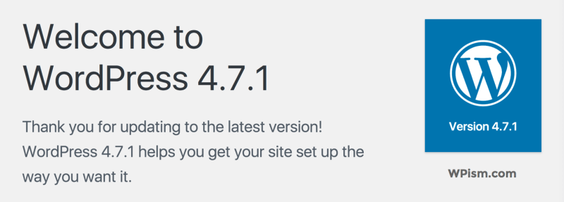 WordPress 4.7.1 Update