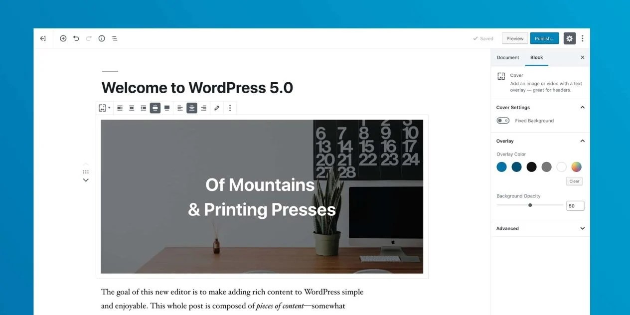 WordPress 5 with Gutenberg Blocks Editor New