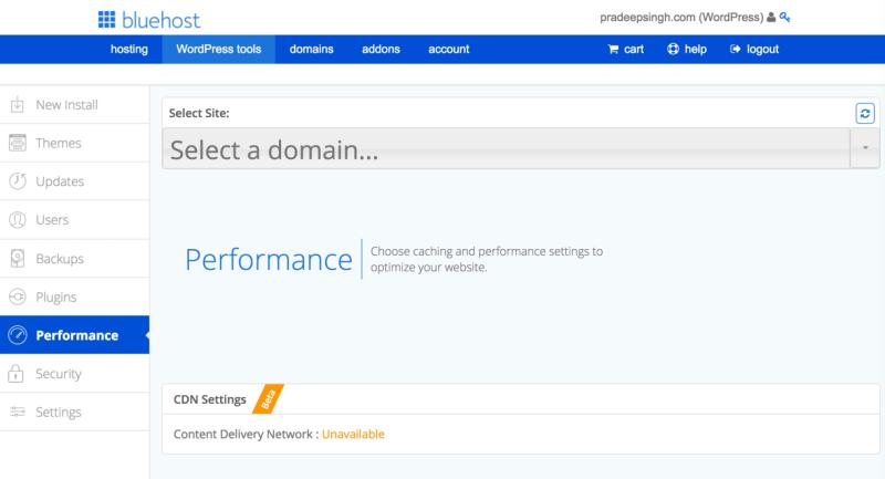 WordPress Performance Bluehost Tool