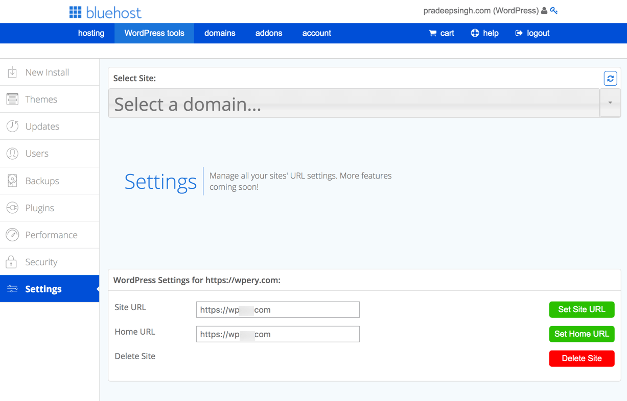 WordPress Settings Bluehost Tool