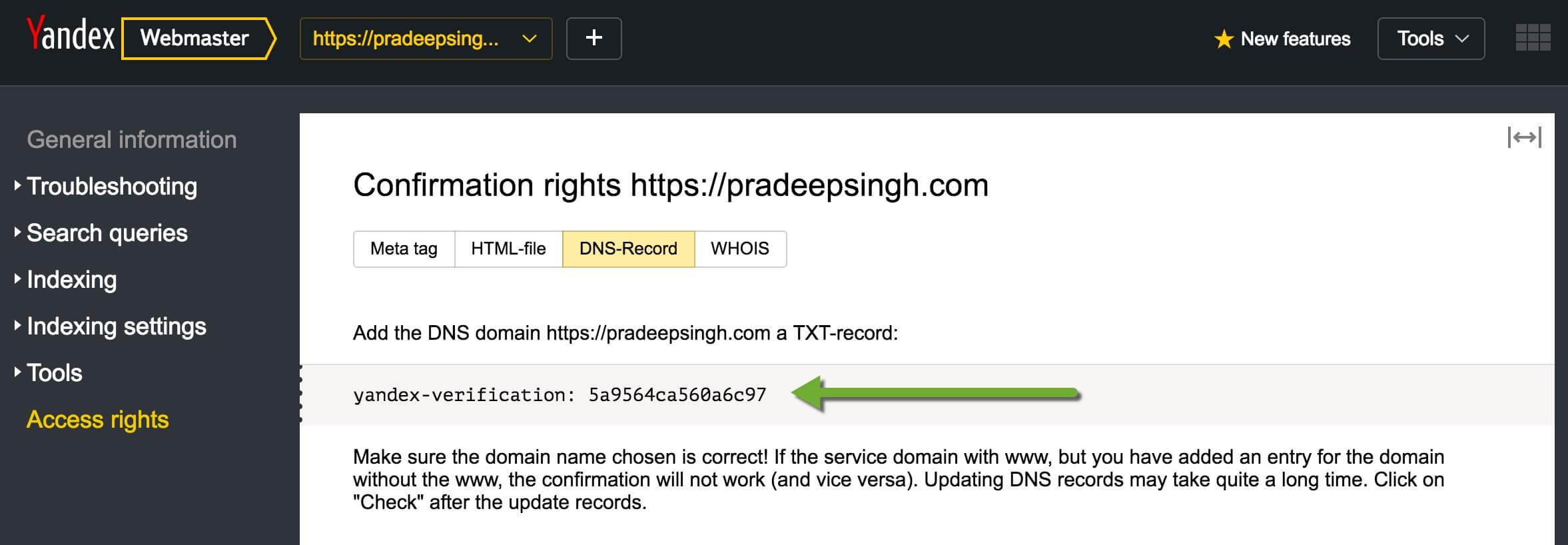 Yandex Webmasters tool Website Verification DNS