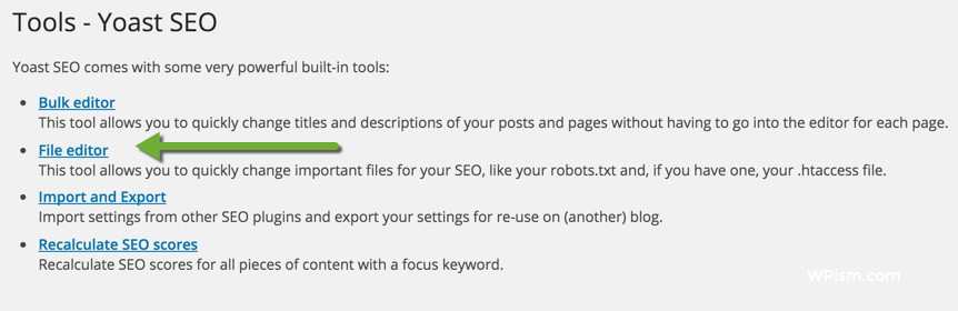 Yoast SEO Tools within Plugin