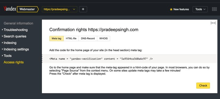 confirm domains rights for Yandex Webmasters tool