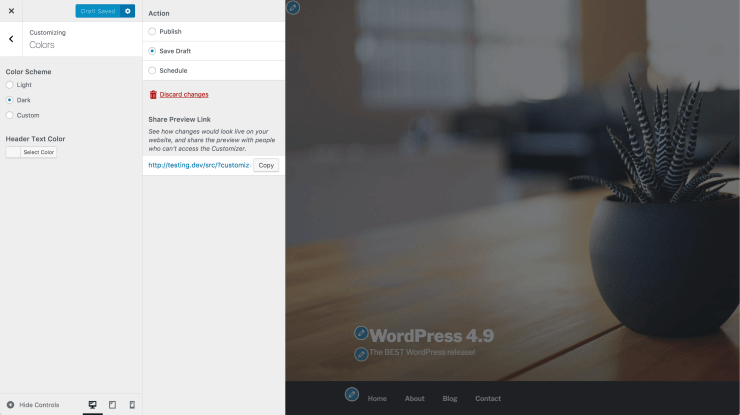 customizer publish settings preview link WordPress