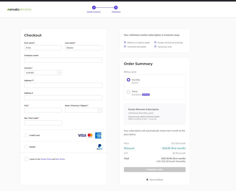 envato elements coupon applied discount