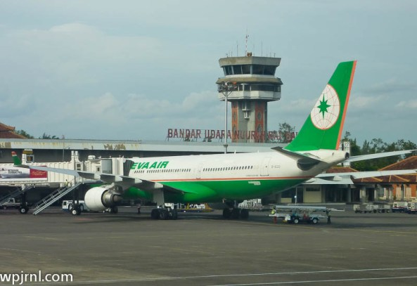 Eva Air Airbus A330-203 in DPS - B-16301 parked in Bali, Indonesia