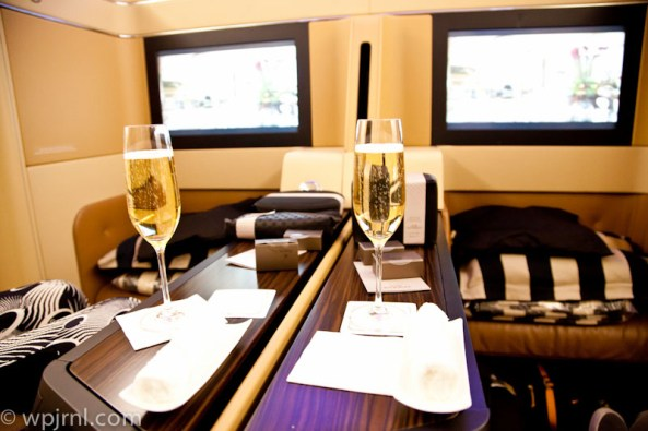 Etihad Airways New York to Abu Dhabi First Class - Champagne