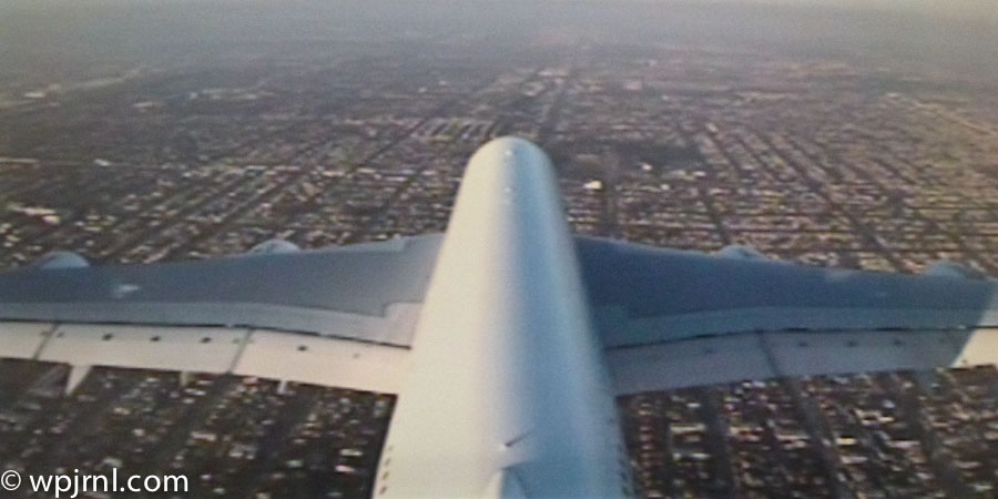 Qantas Airbus A380 Flying Over Los Angeles