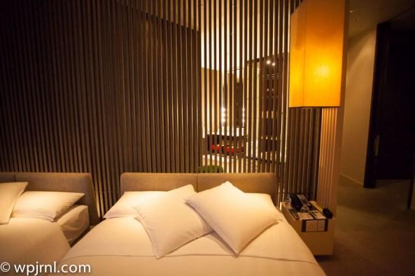 Park Hyatt Shanghai Diplomatic Suite - bathroom view from bed