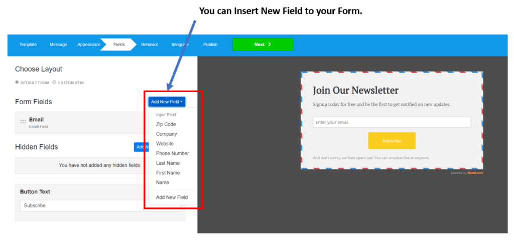 How to Use MailMunch opt-in form to grow your Mailchimp Email List