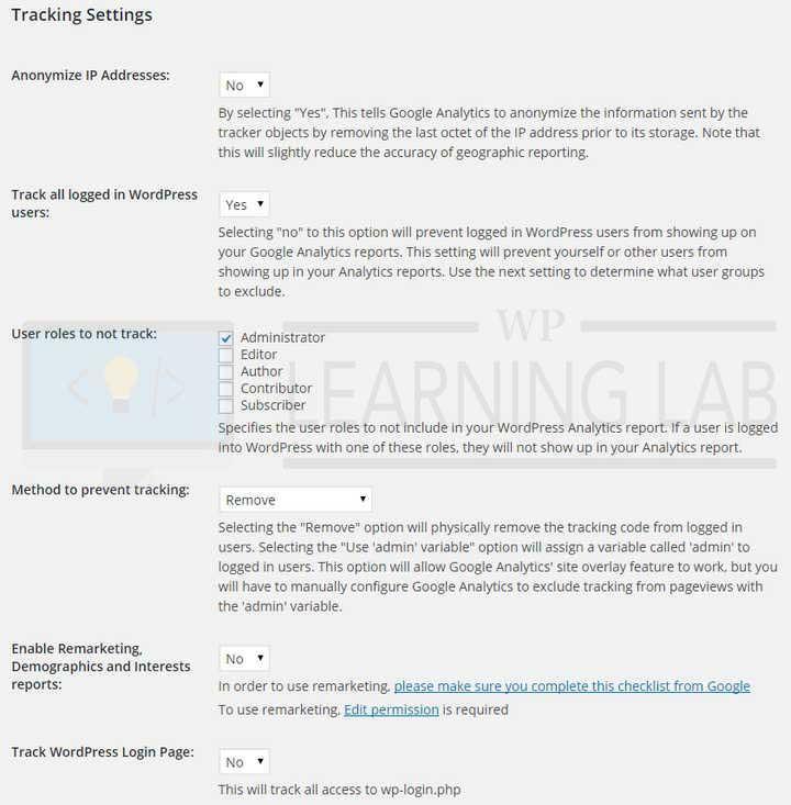 Google Analyticator - Tracking Settings
