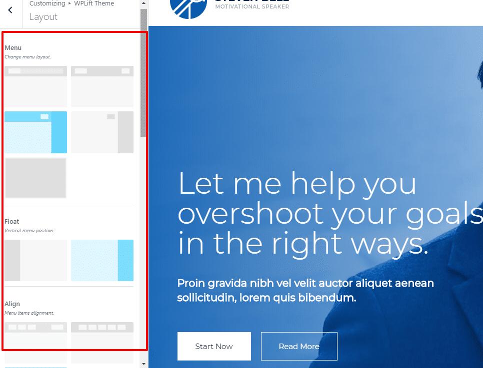 Customizer layout options