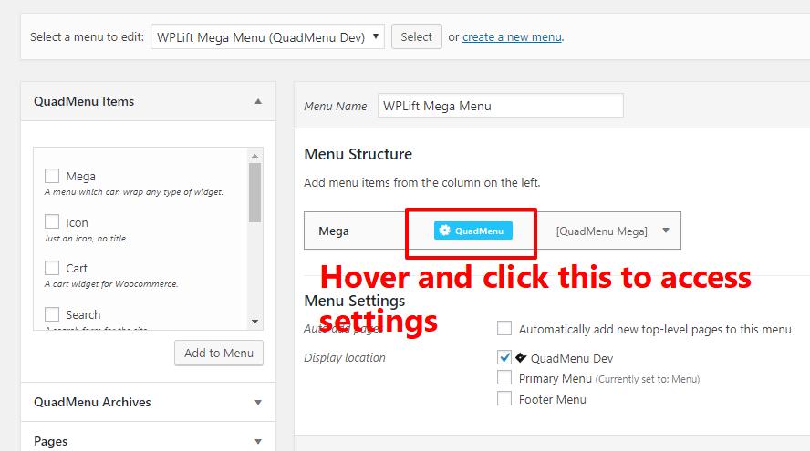 Access QuadMenu settings