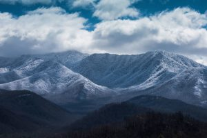 Mount LeConte and the Smoky Mountains with snow in the winter.
