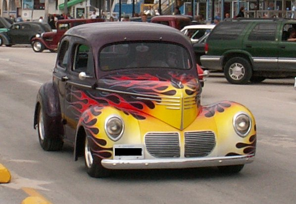 A flame paint job on a hot rod