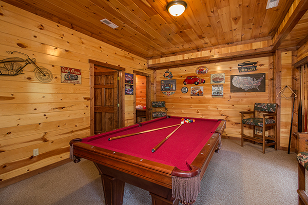 Game room at Tennessee Treasure - a Pigeon Forge Rental cabin