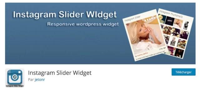 Screenshot du plugin Instagram slider widget sur le repository WordPress