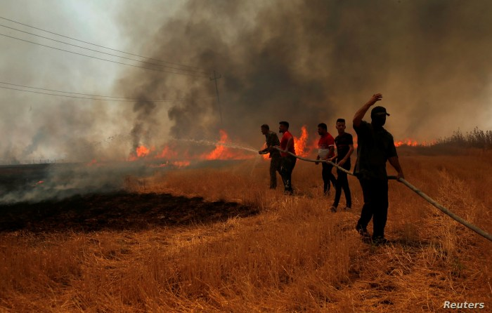 Iraqi farmers and other residents attempt to put out a fire that engulfed a wheat field in the northern town of Bashiqa, east of Mosul, Iraq, June 12, 2019.