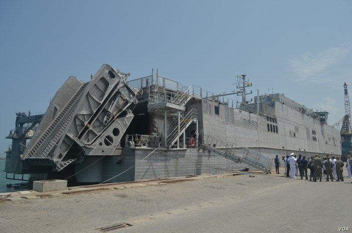 The USNS Carson City is seen in Ghana's Sekondi port. (Stacey Knott for VOA)