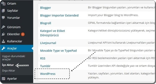 Wordpress.com'dan wordpress.org'a taşıma - içe aktar