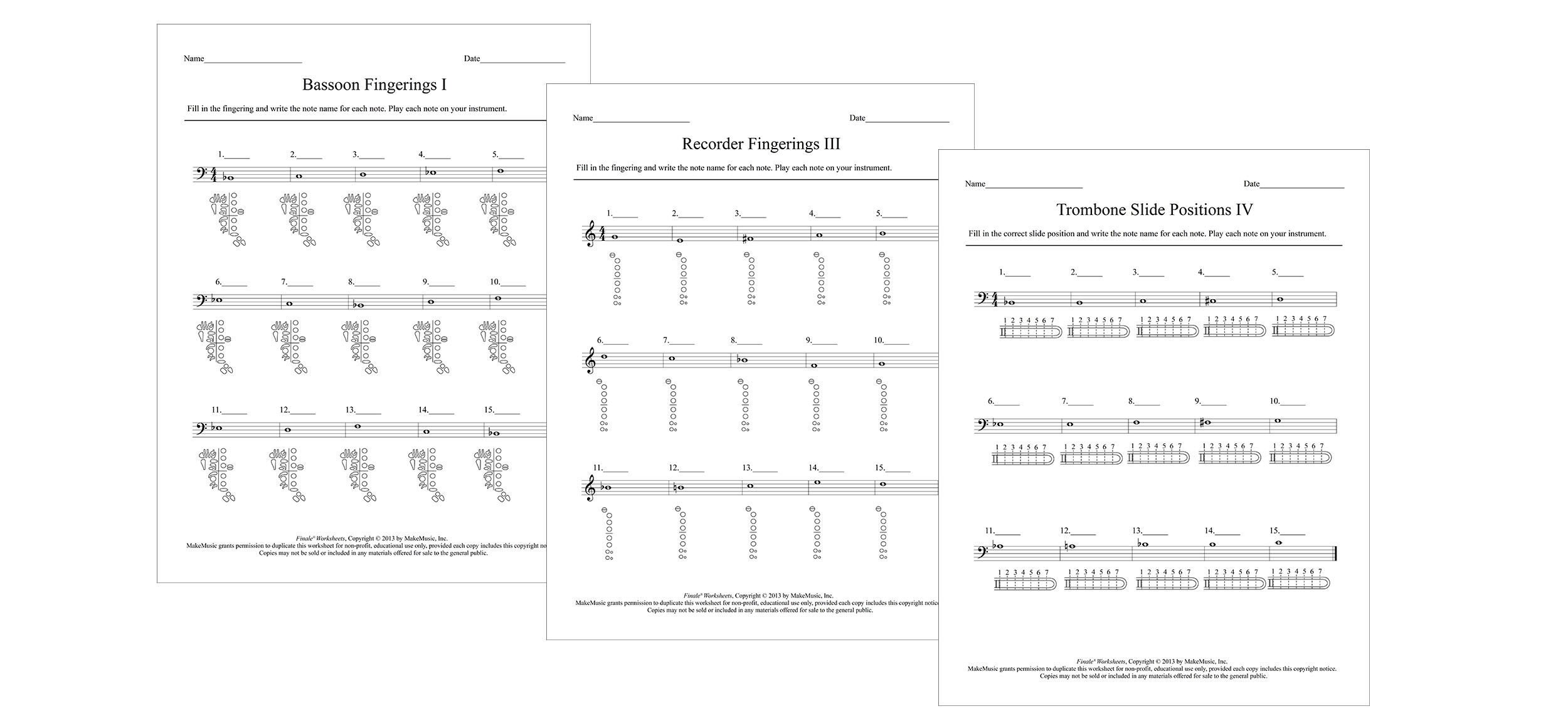 Fingering Worksheets