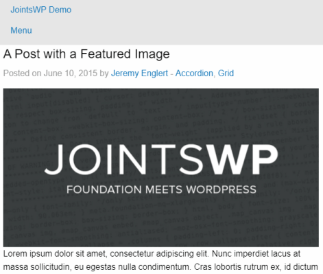 JointsWP Blog Post