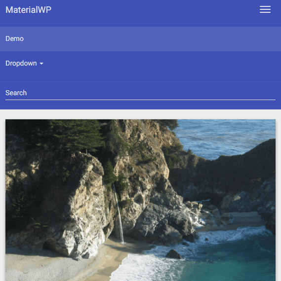 MaterialWP Mobile View