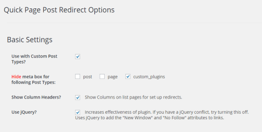 Quick Page Post Redirect Plugin Setting Page